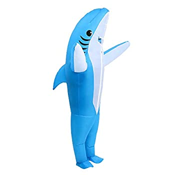Inflatable Shark Costume Air Blow up Jaws Jumpsuit Fancy Dress Funny Carcharias Suit for Cosplay Party Halloween Christmas Carnival Adult Size blue