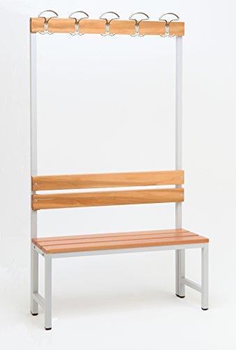 Sitzbank für Umkleide mit Garderobenrückwand (1-seitig), HxBxT:170x100x30 cm, Marke: Szagato (Umkleidesitzbank, Umkleidebank, Garderobenbank, Bank mit Echtholz für Fitnessstudio)