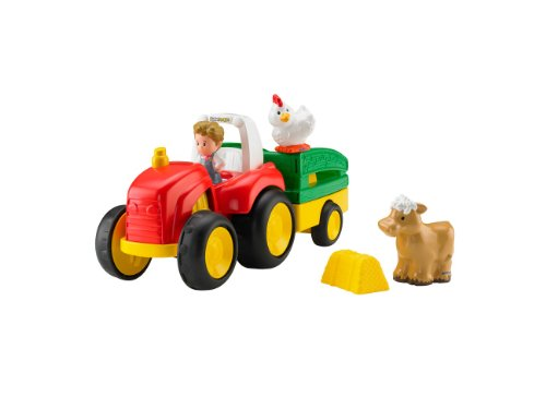 Mattel BJT40 - Fisher-Price Little People Traktor, inklusive 1 Bauernfigur und 2 Tierfiguren
