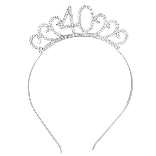 cappello 40 anni compleanno Beaupretty Corona per Compleanno 40 Anni Cerchietto Diadema Principessa Donna Tiara Strass Cristallo con Pettine (Argento)