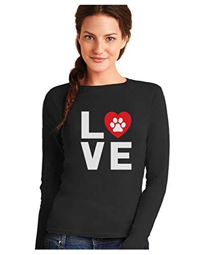 Camiseta De Manga Larga Para Mujer - Love Dogs - Idea De Regalo De Cumpleaños, Navidad, Fecha Especial Small Negro