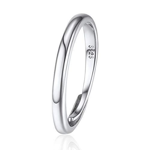 ChicSilver Anillo Simple Plano Ajustable Plata de Ley 925 Oro Blanco Anillo Básico Fino para Dedos Banda Delgada Anillo de Compromiso