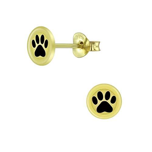 Laimons Pendientes para niña con forma de disco y huella de perro, 6 mm, dorados en plata de ley...