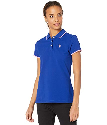 U.S. Polo Assn. Classic Stretch Pique Polo Shirt Ultra Ink Blue/Pink MD