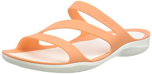 Crocs Women's Swiftwater Sandal Slide, grapefruit/White, 9 M US