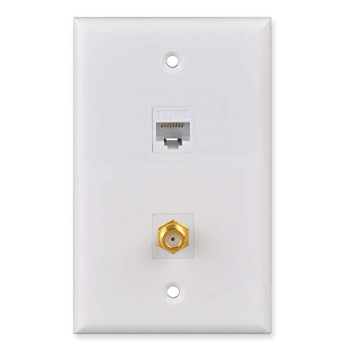 FolioGadgets 2-Port Ethernet Coaxial Wall Plate with RJ45 CAT6 Network and RG59 Coax Keystone Insert Jacks