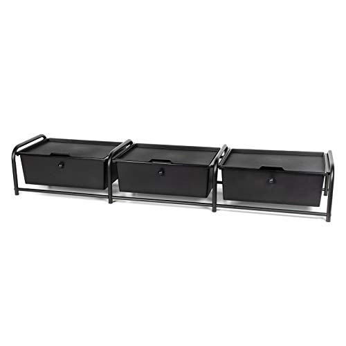 Richards Homewares 9500443 Metal Frame Underbed Storage with Lids, Black, 3-Drawer