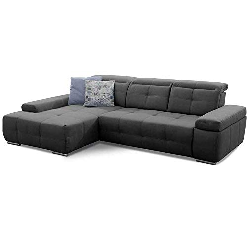 Cavadore Ecksofa Mistrel mit Schlaffunktion, L-Form Sofa mit leichter Fleckentfernung dank Soft Clean, geeignet für Haushalte mit Kindern, Haustieren, 273 x 77 x 173, dunkelgrau