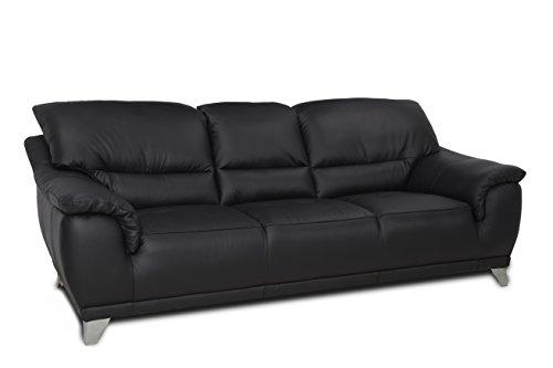 Cotta c083300 M9003 Dunja 3 plazas, Piel auténtica, 220 x 106 cm, Color Negro