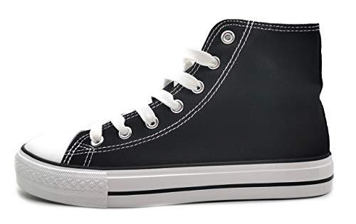 P&L Zapatillas Altas de Lona Mujer Botin Blancas Negras Basket Autoclave