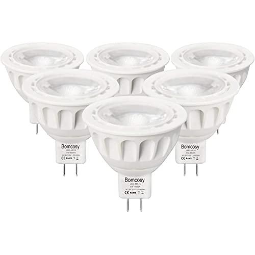 Bombillas LED GU5.3, Bomcosy MR16 LED 5W Lámparas Halógenas Equivalentes a 50W, LED 12v MR16, Blanco Frio 6000K, Bombillas led 420LM, LED GU5.3 36°Luz, 6 Pack