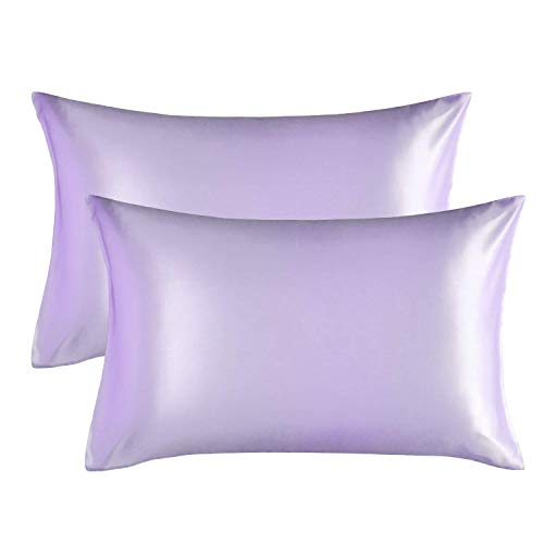 Essencea Satin Throw Pillow Covers Set of 2 Solid Color Decorative European Shams Soft Square Pillowcases for Sofa | Bedroom | Living Room | Car (20 x 40 Inch, Lavender)