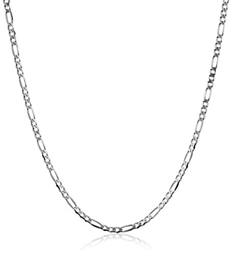Hot Sale Men's 14k White Gold 2.2mm Figaro Chain Necklace, 24""