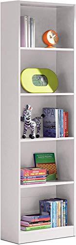 Habitdesign 005422A - Estantería Juvenil Dormitorio 6 baldas, librería Vertical Acabado en Color Blanco Artik, Modelo I-Joy, Medidas: 180 cm (Alto) x 52 cm (Ancho) x 25 cm (Fondo)