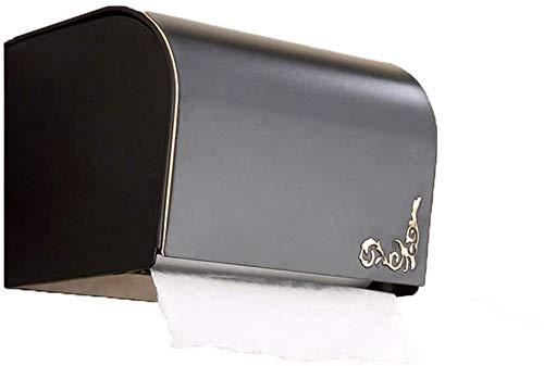 WTT Papierhanddoekhouder, gesloten rolhouder, wand-toiletpapierhouder, zwart, 19,5 cm × 11,5 cm × 13 cm