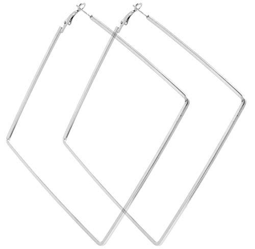 2LIVEfor Große Ohrringe Quadrat Creolen quadratisch Silber Schwarz Silber Hoop Earrings Ohrhänger Hoops Creolen sehr Groß Riesig Viereck Eckig Schlicht Modern Creolen XXL (Silber)