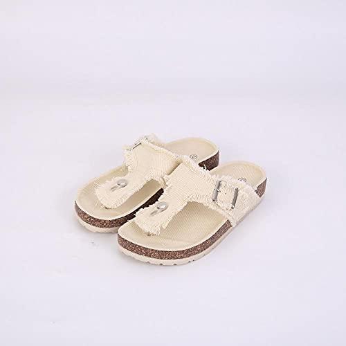 COQUI Zapatillas de Verano Case,Zapatillas para Mujer Calcetines de Mezclilla Sandalias de Madera Blandas Slippers de Verano Sra. Zapatillas-Beige_36
