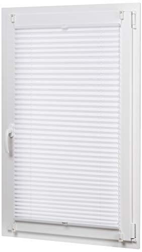 Amazon Basics - Estor enrollable plisado, de tela de poliéster color liso, con sistema de clips, 60 x 130 cm, Blanco