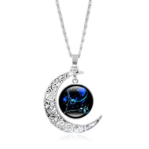 CHMORA Necklace Pendant, 12 Constellation Moon Couple Necklace Horoscope Zodiac Astrology Crescent Glass Coin Pendant Valentine's Day Personalised Gifts for Women Ladies Girls