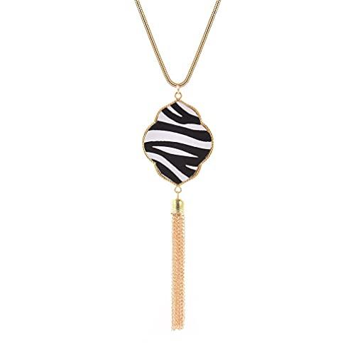 Haowen Collar de Mujer Cuero de PU Patrón de Cebra Collar de Borla Collar de suéter Trébol de Oro 85 + 5cm