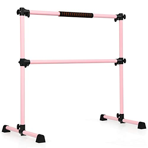 COSTWAY Portable Double Ballet Barre, 123 x 120cm, Adjustable Height,...