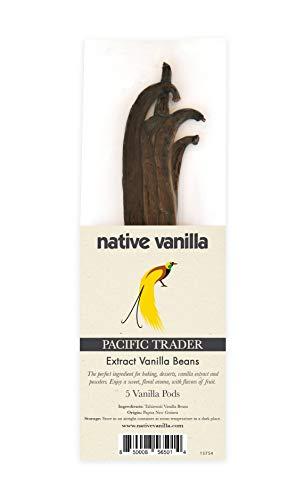 Native Vanilla Tahitian vainilla vainilla extracto grado B (5 vainas) Pacific Trader Premium granel vainilla frijoles frescos