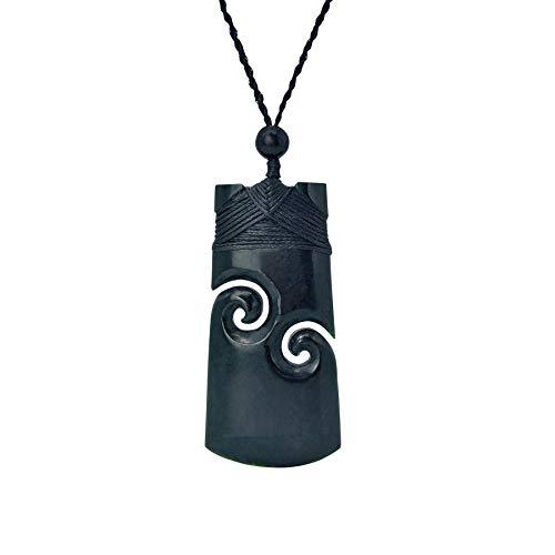 81stgeneration Collar Colgante de Hombre Mujer Jade Nefrita Negro Tallado Toki Moari con Doble Koru