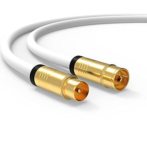 Antennenkabel 15m HD TV Kabel TV Anschlusskabel 135dB Koaxial Stecker auf Buchse (Kupplung) HDTV Kabelfernsehen Koaxialkabel 5-Fach geschirmt DVB-T und DVB-T2 DVB-C Radio UKW DAB (15m, Weiß)