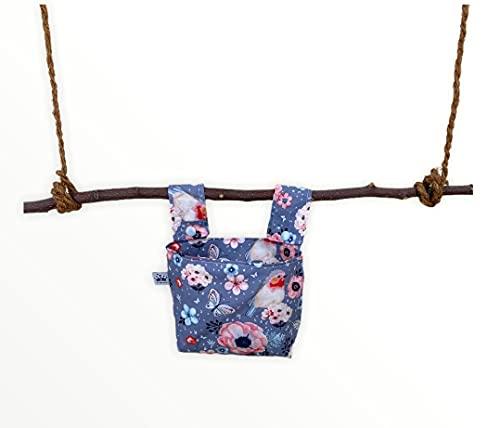 Kinder Lenkertasche, Dreirad , Laufrad, Roller Tasche, Fahrradtasche, fahrradkorb , laufradtasche Vogel Blumen grau rosa