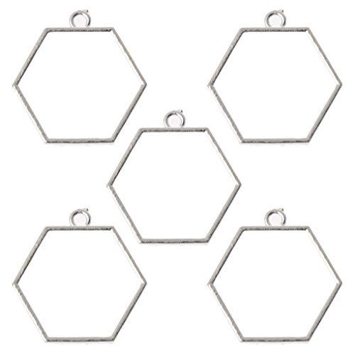 ZJL220 5 piezas de marco hueco con parte trasera abierta, colgante de resina UV prensada para hacer joyas