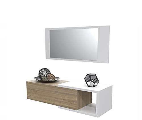 Dormidán- Mueble recibidor con cajón más Espejo, 1m de Ancho, (Blanco cajón Roble)