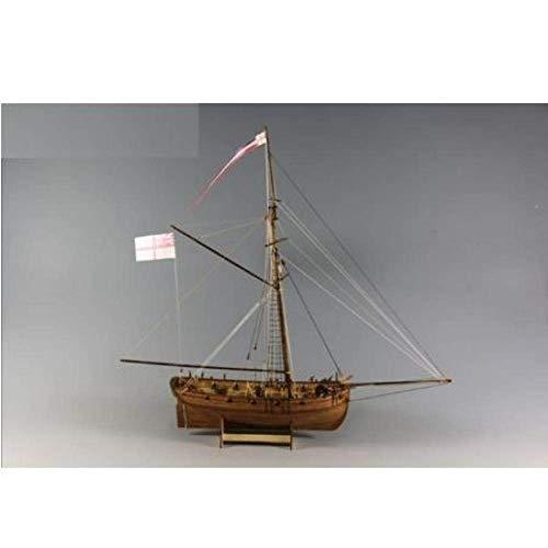 1yess Wohnzimmerdekorationen Chem Segelboot Modell 1/64 Segelholzmodellbausätze H. M.Schiffs-Modell-Kit