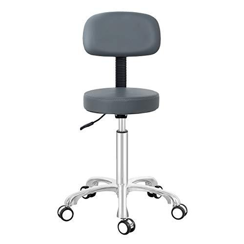 Antlu - Taburete ajustable con ruedas y respaldo para oficina, tienda, cocina, salón médico (gris)