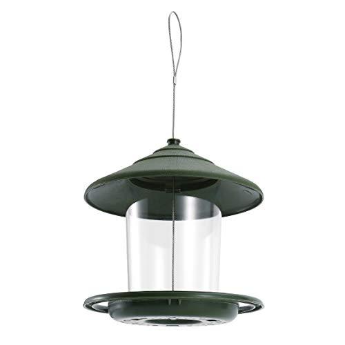 Pumprout Alimentador de pájaros de plástico alimentador de Alimentos para pájaros con contenedor de Techo Colgante Impermeable para decoración de jardín con Cuerda de Alambre