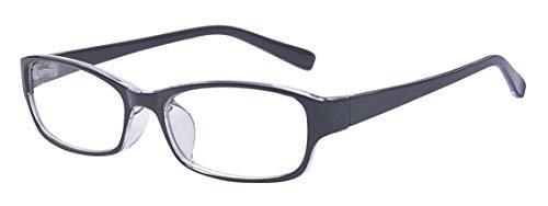Outray Retro-Brille für Kinder /Jugendliche, rechteckig, nicht verschreibungspflichtig, klare Gläser, Brillengestell für Jungen/Mädchen Gr. 85, Schwarz