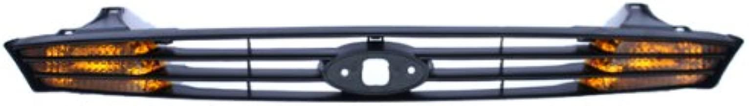 CarPartsDepot, Front Black Grill Grille Assembly w/Turn Signal Amber Len Housing No Emblem, 400-18148 FO2560102 YS4Z13200BA