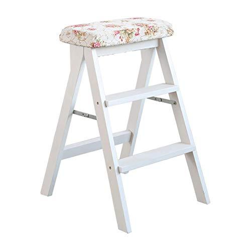 MOM Fußschemel Trittleiter 3-Stufen-Hocker Weiß Holzküche Home Leiter Adult High Stool Klappbarer Multifunktions-Tritthocker,Ein
