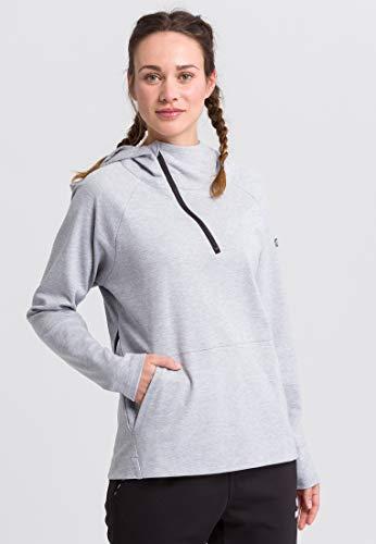 Erima Sweat à Capuche Essential Sweatshirt Femme, Gris Clair chiné/Noir, FR : 4XL (Taille Fabricant : 48)