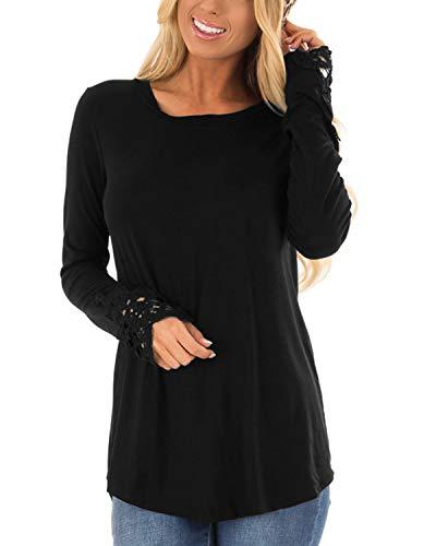 CNFIO damskie bluzki z długim rękawem dekolt w serek koszula cienka dzianina sweter bluzka