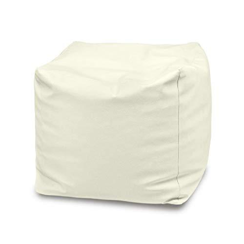 Italpouf Pouf Esterno Cubo 50x50x50 Pouf Poggiapiedi Impermeabile! Pouf Grande da Giardino Poggiapiedi Imbottito! Puff Puf 24 Colori! (Bianco)