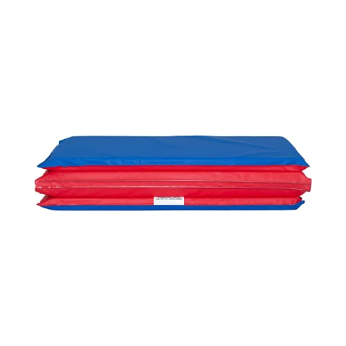 KinderMat, 1' Thick KinderMat, 4-Section Rest Mat, 45' x 19' x 1', Red/Blue, Great for School, Daycare, Travel, and Home, 100% Made in USA