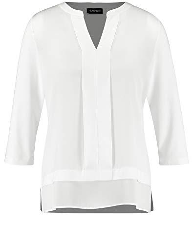 Taifun Damen Blusenshirt Mit Satin-Front Figurumspielend Offwhite 46