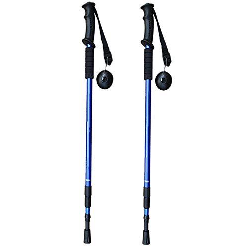 DRZJ Bastones de Trekking Bastón de Caminar Ajustables para Actividades de Senderismo Bastones de Trekking Bastones antichoque para Hombres y Mujeres(Azul) 2PCS