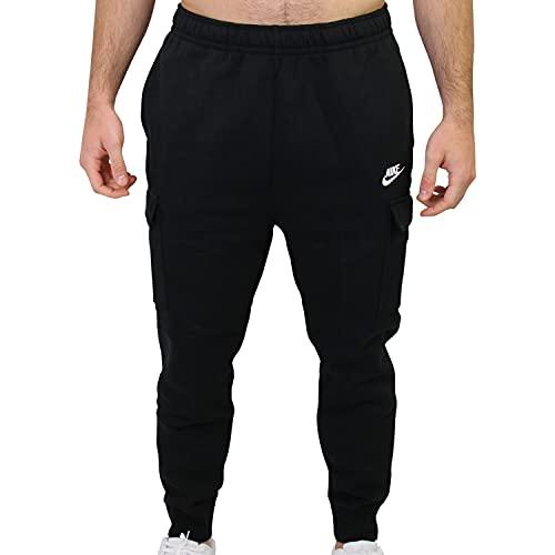 Nike Hombre Sportswear Club Fleece Cargo Pantalones, Black/Black/White, S