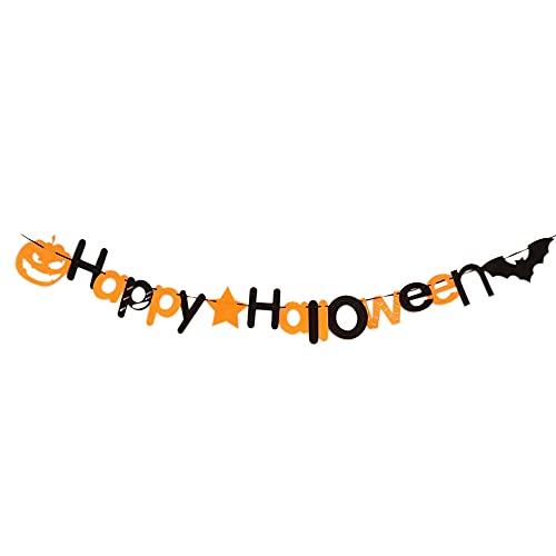 Funien Happy Halloween, Happy Halloween Party Banner Colgante Decoración de Pared para el hogar Escuela Oficina Decoraciones para Fiestas Guirnalda de murciélagos y Calabazas