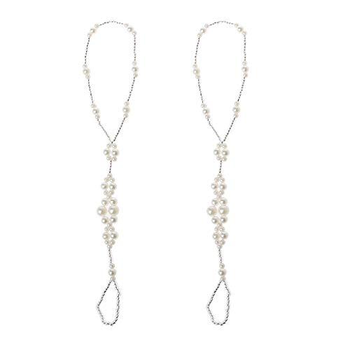 gszfsm001 2 pulseras de tobillo de perlas, accesorios para pies de boda en la playa, sandalias de pies descalzados, pulseras de tobillo y tobilleras, adecuadas para banquetes y fiestas