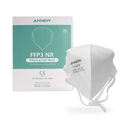 20X ANNEW FFP3 Schutzmaske Mund Nasen Schutzmaske Atemschutzmaske Gesichtmaske, 5-Lagen-Atemschutzmaske, Erwachsenenmaske Mund-Nase Gesichtsschutz mit hochwertigem Stoff