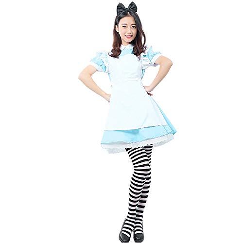 Shihong-G Alice im Wunderland Cheshire Katze Cosplay Kostüm Halloween Party Cosplay Kostüm Dienstmädchen Kostüme Lolita Phantasie Kawaii Kleid Outfit Komplettset