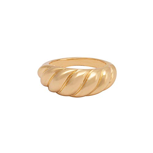 House of Meèsse Women's Luxury Croissant Dome Ring, 18K Gold Plated, Comes with an Elegant Gift Box (7)
