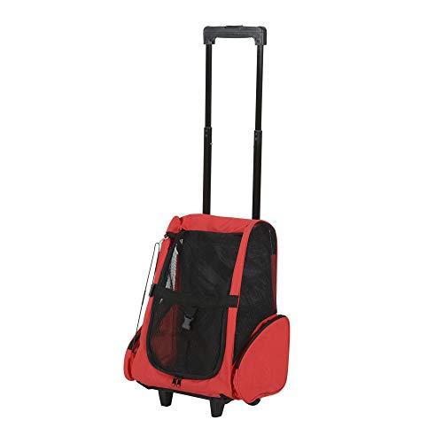 Outsunny PawHut Trasportino Zaino per Cani e Gatti con Tasche Laterali, Maniglia Telescopica e Ruote, 42x25x55cm, Rosso